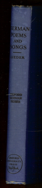 German Poems and Songs Lieder Oxford Series 1929 [Hardcover], Frederick W Lieder
